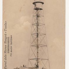Farul dela Marea Neagra Tuzla Tekirghiol 70 metri inaltime - Carte Postala Dobrogea 1904-1918, Circulata, Printata