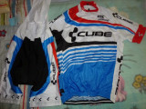 echipament ciclism complet cube  set pantaloni cu bretele tricou jersey bib