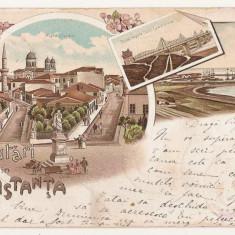 Litografie Salutari din Constanta - Carte Postala Dobrogea pana la 1904, Circulata, Printata