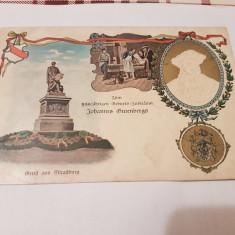 Carte postala germania 1900 color-aurita/ aniversare j.gutenberg, Necirculata, Printata