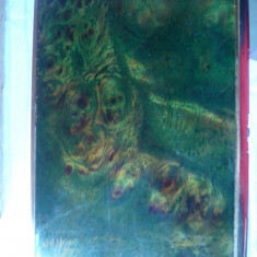 Tabachera aurita in interior, cu email -Peisaj, dim.interioare= 6x9, 5 cm