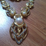Set mireasa_set golden 4 piese cu cristale si perle - Set bijuterii handmade si fashion
