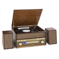 AUNA EPOQUE 1909, sistem audio retro, gramofon, casete, bluetooth, USB, CD, AUX
