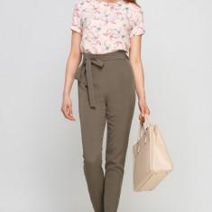 Pantaloni office talie înaltă și cordon - Pantaloni dama, Marime: 36, 38, 40, 42, Culoare: Khaki, Poliester