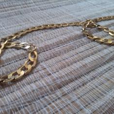 Lant barbatesc auriu-zale - Set bijuterii placate cu aur