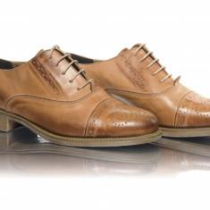 Pantofi dama casual pele naturala Caspian-Mania con - Pantof dama, Culoare: Coniac, Marime: 35, 36, 37, 38, 39, 40, Piele naturala, Cu talpa joasa