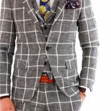 Costum tip ZARA - sacou + pantaloni + vesta - costum barbati 8126, Marime: 44, 46, 48, 50, 52, 54, Culoare: Din imagine