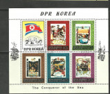 KOREA 1980 - EXPLORATORI. BLOC DE 6, STAMPILAT, A23