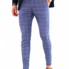 Pantaloni albastri - carouri - pantaloni barbati - COLECTIE NOUA 7841A, Marime: 31, Culoare: Din imagine