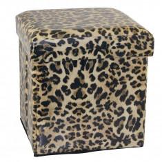 Taburet model Leopard cu spatiu de depozitare, J-Line - Scaun living