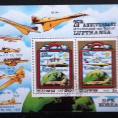 KOREA 1980 - AVIOANE MILITARE, BLOC DE 2, STAMPILAT. C28