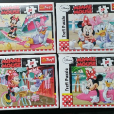Set 4 Mini Puzzle Altele Trefl 54 piese - Minnie Mouse, 4-6 ani, Carton, 2D (plan), Unisex