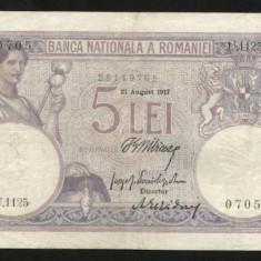 X875 ROMANIA 5 LEI 21 august 1917 frumoasa - Bancnota romaneasca