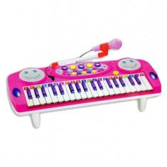 Orga electronica roz pentru copii cu microfon si lumini - Instrumente muzicale copii