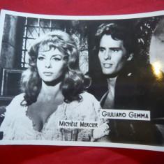 Fotografie cu Actorii Michele Mercier si Giuliano Gemma, 10, 6x 8, 7 cm - Autograf