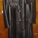 Haina lunga piele, dama, originala, OTTAVIO PIRAGINO, mar.M, Italia, Marime: M, Culoare: Negru