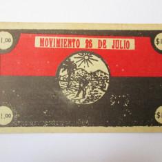 Rar! Cuba 1 Dollar-Movimento 26 de Julio 1958 UNC-bon revolutie Fidel Castro - bancnota america