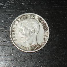 Moneda argint comemorativa 1 leu Romania 1906, regele Carol I - Moneda Romania