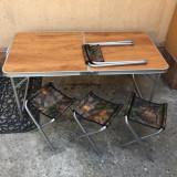 Masa Pliabila Picnic Folding Table 60x120cm cu 4 scaunele camuflaf