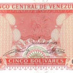 VENEZUELA 5 BOLIVARES 1989  * P 70 * UNC - Necirculata