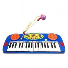 Orga electronica albastra pentru copii cu microfon si lumini - Instrumente muzicale copii