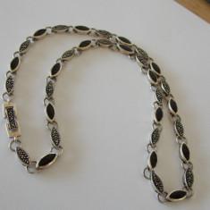 Colier argint cu onix si marcasite -2036