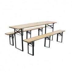 Set mobilier gradina, masa si 2 banci, Strend Pro Dortmund Standard, 175x46x77 cm, cadru metal - Set gradina