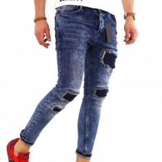 Blugi tip Zara albastri - conici cu model- COLECTIE NOUA - 8161G2 - Blugi barbati, Marime: 29, 30, 31, 32, 33, 34, 36, Culoare: Din imagine, Slim Fit