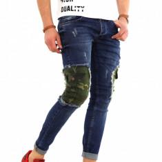 Blugi tip Zara Albastri - conici cu pete camuflaj- COLECTIE NOUA - 8168H4 - Blugi barbati, Marime: 29, 30, 31, 32, 33, 34, 36, Culoare: Din imagine, Slim Fit