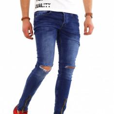 Blugi tip Zara albastri - conici cu rupturi - COLECTIE NOUA - 8160H5 - Blugi barbati, Marime: 30, 31, 32, 33, 34, 36, Culoare: Din imagine, Slim Fit