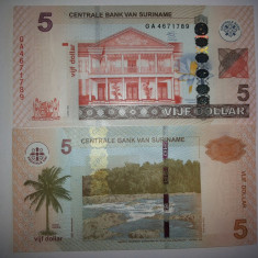 Suriname 5 Dollar 2012 UNC - bancnota america