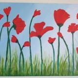 """Tablou acrilic - """"Camp cu maci"""" - Cadouri Unice - Pictor roman, Flori, Impresionism"""