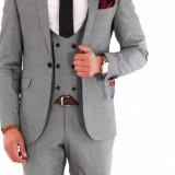 Costum tip ZARA - sacou + pantaloni + vesta - costum barbati 8142, Marime: 44, 46, 48, 50, 52, 54, Culoare: Din imagine