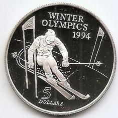 Noua Zeelanda 5 Dollars 1994 - ( Olympics) Argint 31.47 g/925, MV1 , 38 mm KM-96