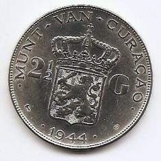 Curacao 2½ Gulden 1944 - Wilhelmina, Argint 25 g/740, MV1 , 38 mm KM-46