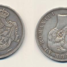 ROMANIA Moneda argint 25 gr Carol I 5 lei 1881 in stare foarte buna - Moneda Romania