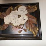 Tablou Flori 32 cm x 37 cm- Piele naturala