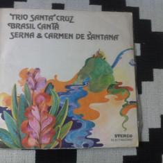 Trio de santa cruz brasil canta serna carmen de santana muzica latin pop disc lp - Muzica Latino electrecord, VINIL