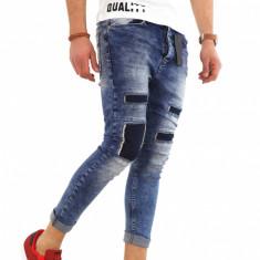 Blugi tip Zara bleumarin - conici cu model - COLECTIE NOUA - 8164H7 - Blugi barbati, Marime: 29, 30, 31, 32, 33, 34, 36, Culoare: Din imagine, Slim Fit
