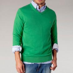 Pulover Tommy Hilfiger -Premium cotton | XL, XXL - Pulover barbati, Culoare: Verde, La baza gatului, Lana