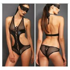 Lenjerie Lady Lust Sexy Teddy Babydoll Piele PU Leather Vinil Plasa Open Bust - Lenjerie sexy femei