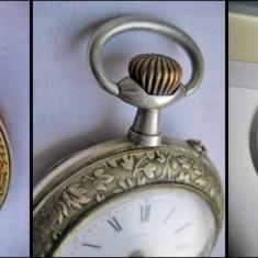 Ceas vechi barbat Urania buzunar alpaca functional. Perioada cca 1900-1930. - Ceas de buzunar vechi