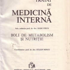 Tratat de medicina interna - boli de metabolism si nutritie - Carte Diagnostic si tratament