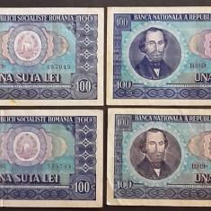 BANCNOTA 100 LEI 1966 CIRCULATA VF - Bancnota romaneasca