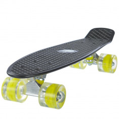 Penny board, Mad Abec-7, roti luminoase Night Black - Skateboard, Marime: 22