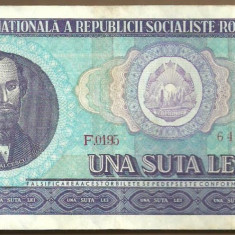 BANCNOTA 100 LEI 1966 AUNC (serie 640279) - Bancnota romaneasca