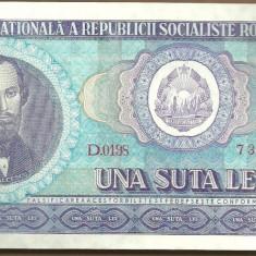 BANCNOTA 100 LEI 1966 UNC (serie 733208) - Bancnota romaneasca