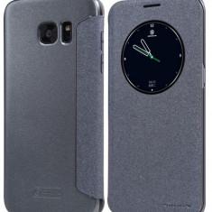Flip cover, Nillkin, Sparkle leather, pentru Galaxy S6 Edge +, negru