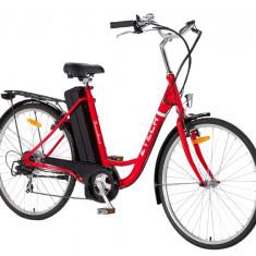 Bicicleta electrica BARCELONA, cu cadru de otel ZT-11, 28 inch, Numar viteze: 6, Negru-Rosu