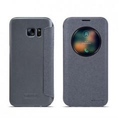 Flip cover, Nillkin, Sparkle leather, pentru Galaxy S7 Edge, negru